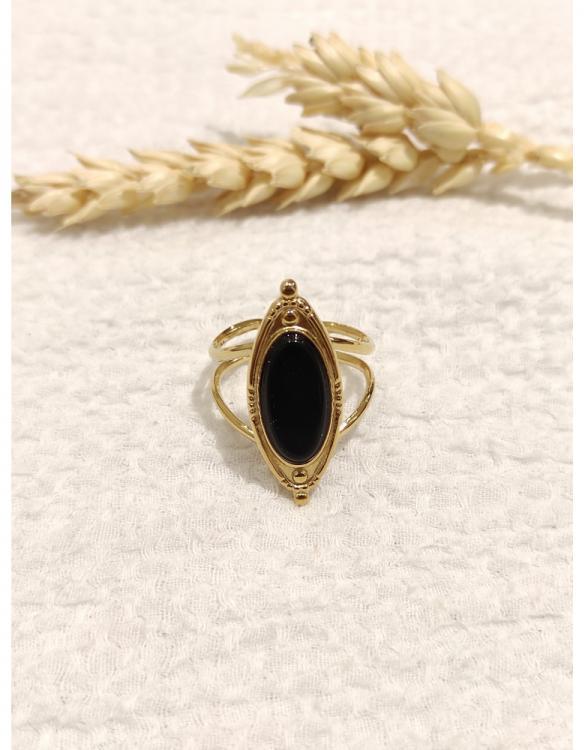 bague-ovale-pierre-noire-doré-