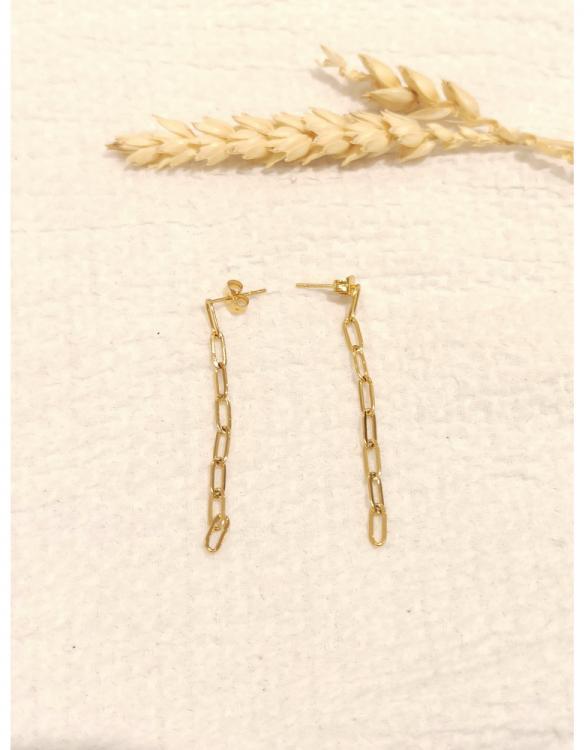 boucle-d-oreille-chaine-pendante-doré-