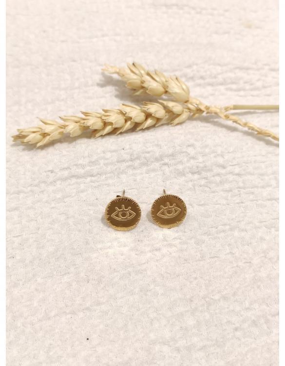 Boucle d'oreille oeil doré
