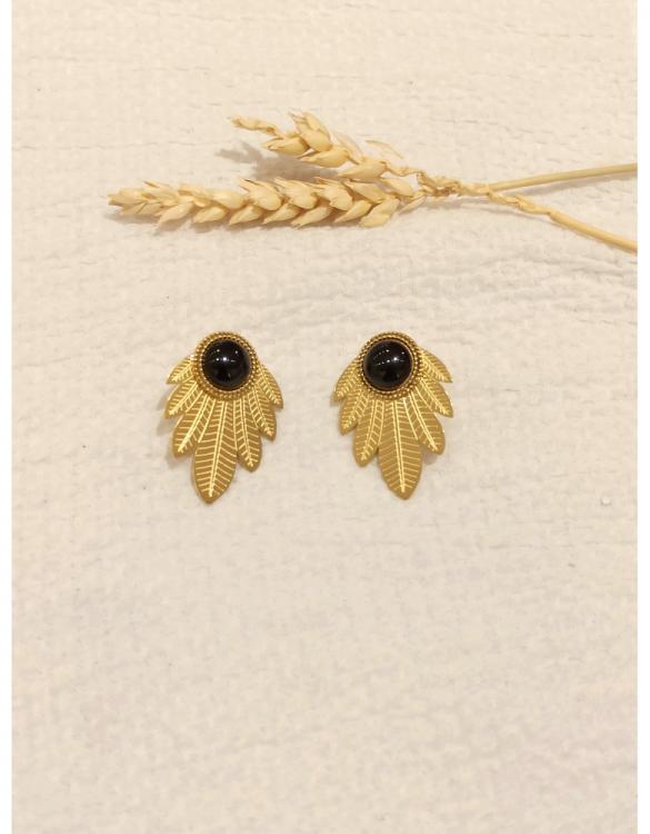 boucle-d-oreille-feuille-et-onyx-doré--2
